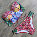 New Bikinis Set Sexy High Neck Swimsuit Push Up Bikini 2016 Swimwear Women Bandage Biquini Bathing Suit Padded maillot de bain