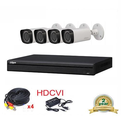 купить DAHUA HCVR7204A-S3 4CH H.264 1080P Mini HDCVI DVR Security System kit+4pcs DAHUA HAC-HFW2220R-Z IP67 2MP Smart IR-Bullet Camera дешево