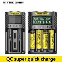 100% Original Nitecore UM2 UM4 USB QC Batterie Ladegerät Intelligente Schaltung Globalen Versicherungs li ion AA AAA 18650 26650 21700