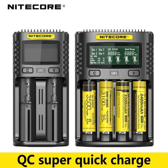 100% original nitecore um2 um4 usb carregador de bateria qc circuitos inteligentes seguro global li ion aa aaa 18650 26650 21700