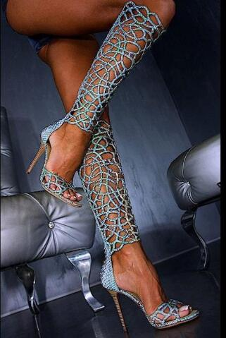 Women shining sexy light blue snakeskin knee high boots thin high heel crystal boots open toe cut-outs cage long sandal bootsWomen shining sexy light blue snakeskin knee high boots thin high heel crystal boots open toe cut-outs cage long sandal boots