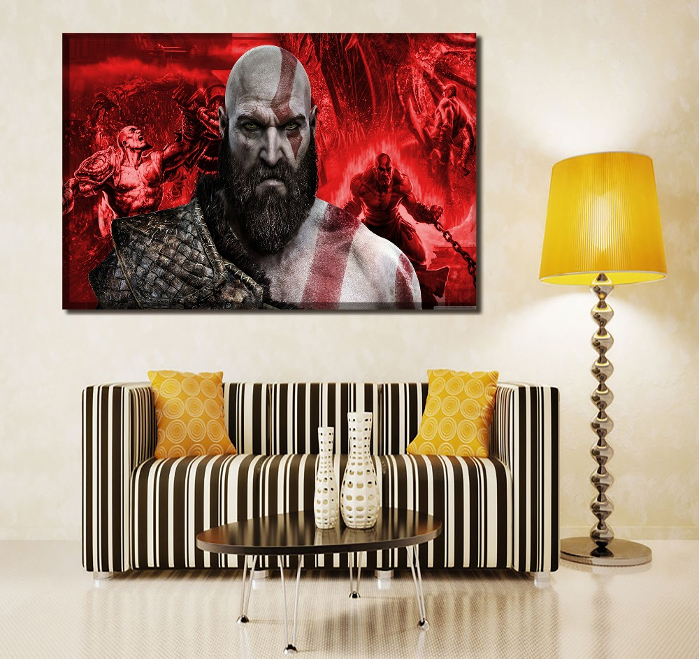 1 Panel/4 Pcs Kratos Poster Game God of War Painting Top-Rated Canvas Printed Poster Wall Art Home Decor Bedroom Modern Artwork