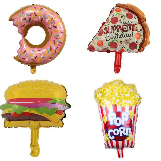 Mini Popcorn Cake Pizza Food Balloon Happy Birthday Decoartions Kids Supplies Inflatable Foil Helium Balloons