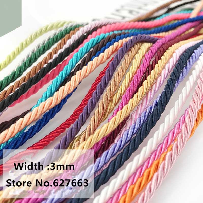 5-10m  pink Colors Three Strands of Cord for Cushion Pillow Bag 3 mm diamete