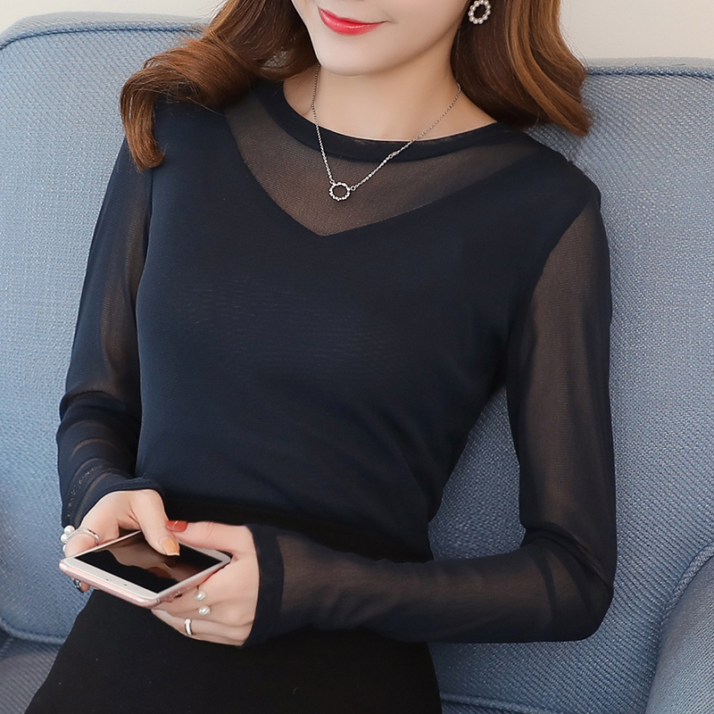new fashion women O-Neck long sleeve spring autumn thin shirt female Spliced sexy Lace S ...