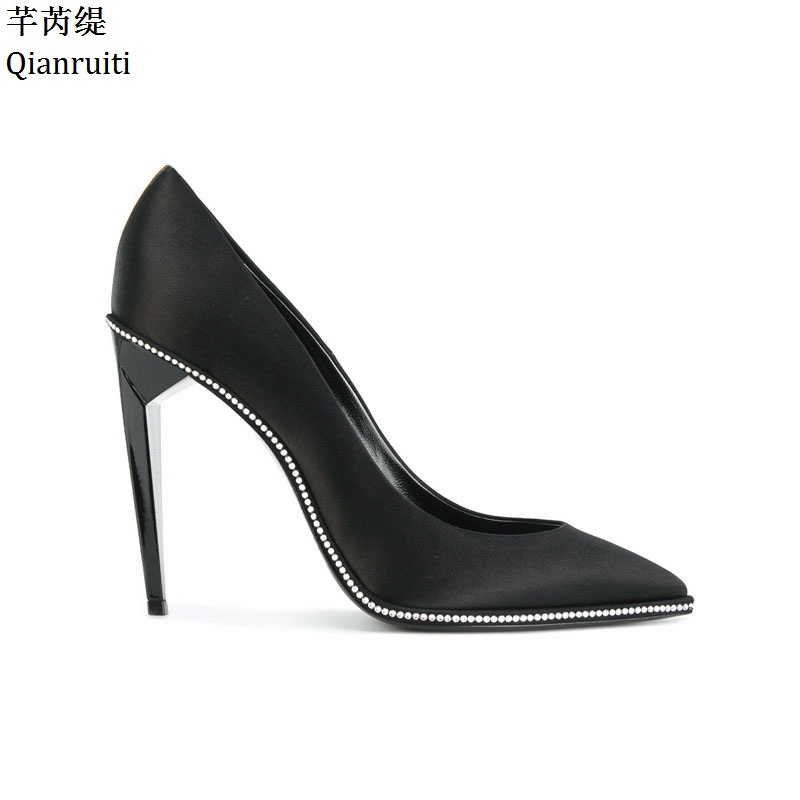 1681bc288c9b Qianruiti Sexy Pointed Toe Stiletto Heels Women Pumps Black Silk High Heels  Shoes Kim Kardashian Style Women Wedding Shoes-in Women s Pumps from Shoes  on ...