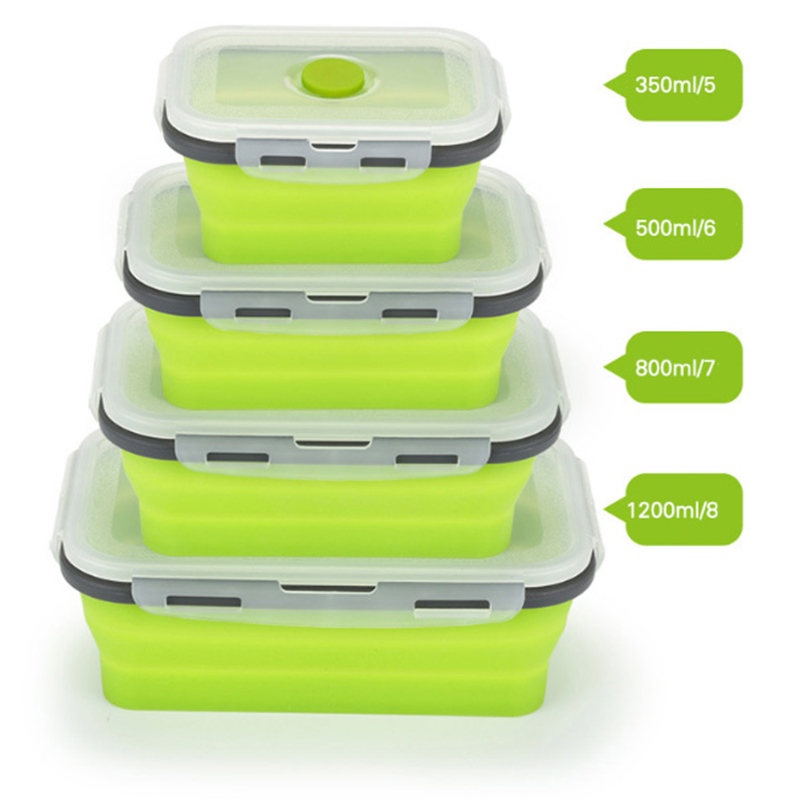 Silicone Lunch Box Collapsible Portable Box Bowl Bento Boxes Folding Food Container 350/500/800/1200ml Food Storage Containers