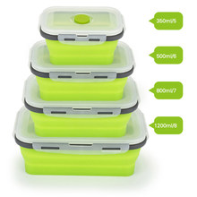 Silicone Lunch Box Collapsible Portable Box Bowl Bento Boxes Folding Food Container 350/500/800/1200ml Food Storage Containers(China)
