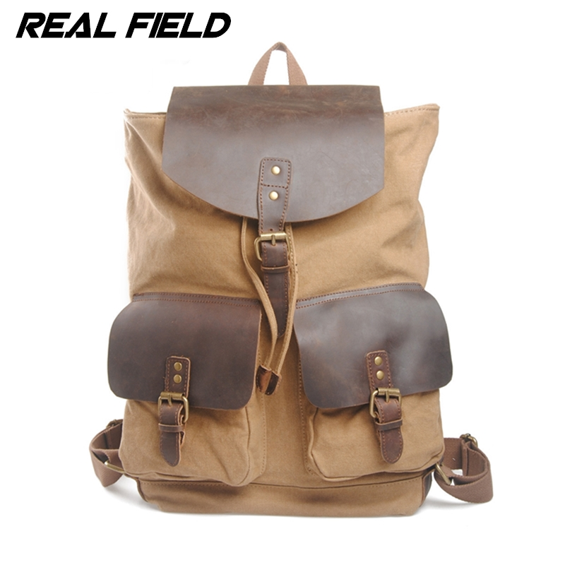 Real Field Vintage Fashion Casual Canvas Leather Women Men Backpacks Shoulder Bags for Lady Cotton Rucksack Large Capacity 251