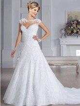 vestido de novia 2018 Sexy illusion A-Line Wedding Beading Bridal Gown Vestidos De Novia Custom Mother of the Bride Dresses