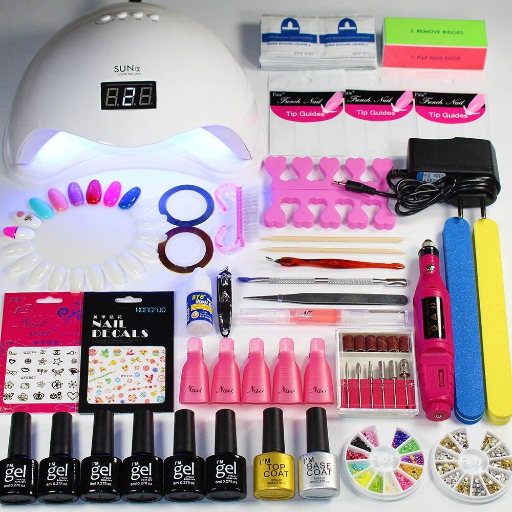 Nail Kit Dryer 48W/36W UV LED Lamp&UV Gel Varnish Polish Top Base Coat Manicure Tool Choose 6  Colors Nail Polish For Nail Sets