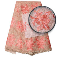 2017African french lace fabric high quality embroidered lace trim tulle lace fabric high quality embroidery NA884B 1