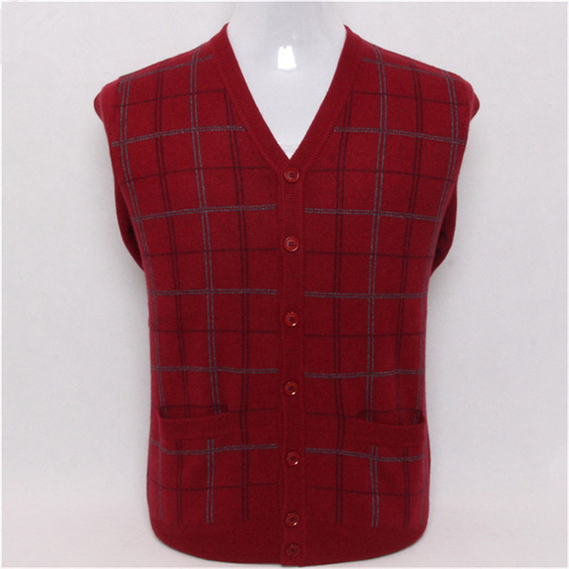 Large Size Pure Goat Cashmere Plaid Knit V-neck Men Fashion Thick Cardigan Sweater Dark Blue 3color S/4XL