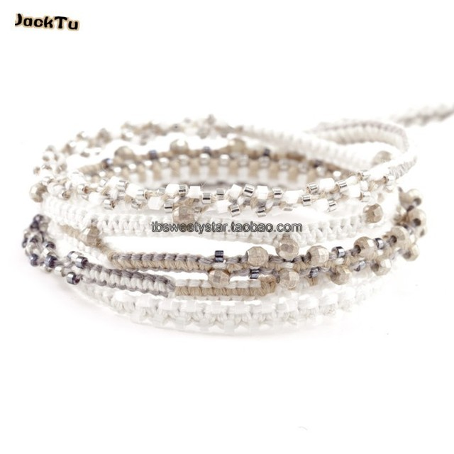 adjustable seed beads 925 sterling laser beads cotton cord wrap bracelet