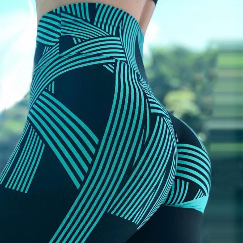 SVOKOR High Waist Leggings Ladies Digital Printing Striped Fitness Leggings Casual Sports Breathable Pants Women's Clothing