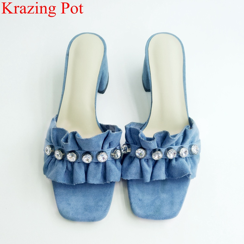 2018 superstar open toe cow suede slingback women sandals crystal beach outside slipper ruffles elegant mules summer shoes L012018 superstar open toe cow suede slingback women sandals crystal beach outside slipper ruffles elegant mules summer shoes L01
