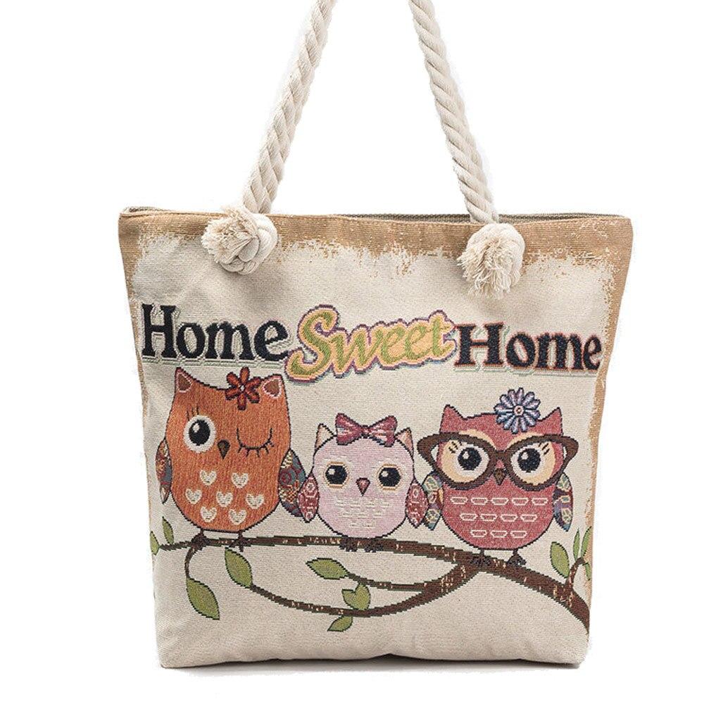 New Women/'s Handbags Ladies Beach Bag Girls Bags Owl Print  Tote Bag Beach Bags