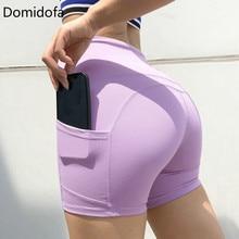 Domidofa Woman Yoga sport Shorts for Elastic Force Bodybuilding Close Motion Run Lift The Hips Trisection Nylon