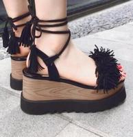 2017 Newest Design Ladies Wedges Platform Sandals Sexy Red Fringe Lace Up Open Toe Shoes