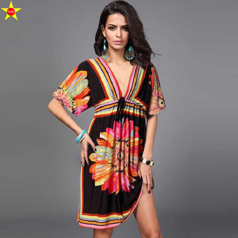 9f50482eccb ... Plus Size Casual Women Dresses 2018 Summer New Silk Printing V-Neck  Backless Sexy Women ...