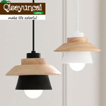 The Nordic style garden wood Iron LED Pendant Lights restaurant bedroom living room lighting