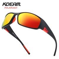 2019 KDEAM Men Sport Sunglasses TR90 Frame HD Polarized mirror lens Comfortable silicone non slip UV400 5 Colors with case KD111