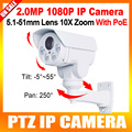 PTZ IP Camera 1080P 2MP 10X Optical Zoom Auto Iris Pan/Tilt Rotation 4PCS Array Night Vision IR 80M,With POE,Card Slot,Onvif,P2P