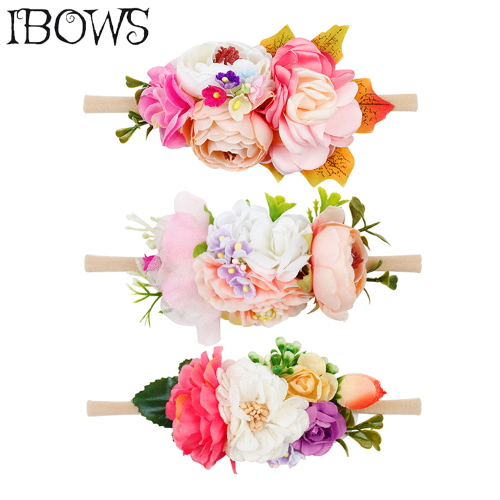 Artificial Fake Flowers Headband Nylon Head Bands With Beautiful Rose For Kids Newborn High Elastic Headdress Hair Accessories