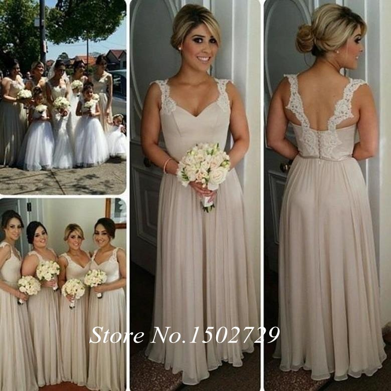 Aliexpress.com : Buy Khaki Lace Long Bridesmaid Dresses Spaghetti ...