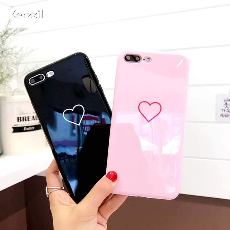 Kerzzil Love Heart Couples Phone Case For iphone 7 6 6s Cases Candy Color Glossy Soft Silicone Back Cover For iphone 8 7 PLus