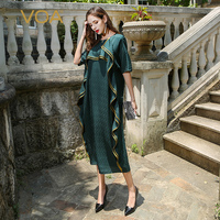 VOA Plus Size Loose Silk Dress Women Deep Green Chinese Half Sleeve Simple Solid Robe Pull Summer Dresses vestidos Fall ALJ01801