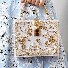 Fashion tasche diamant blume Handtasche hohl relief Acryl luxus handtasche bankett party geldbörse frauen umhängetasche
