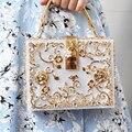 Moda do baile de Finalistas da noite saco de diamantes Saco de Embreagem flor alívio oco Acrílico luxo banquete bolsa festa bolsa bolsa de Ombro das mulheres