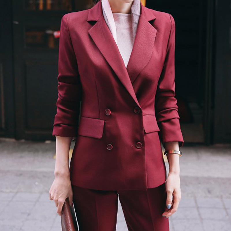 Set female 2018 autumn winter temperament casual slim slimming small suit jacket + nine pants pure color wild elegant two-piece
