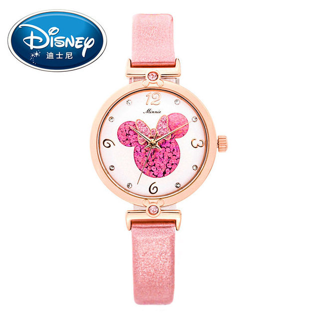 New women Mickey mouse pretty girl love gift charming leather quartz round watch