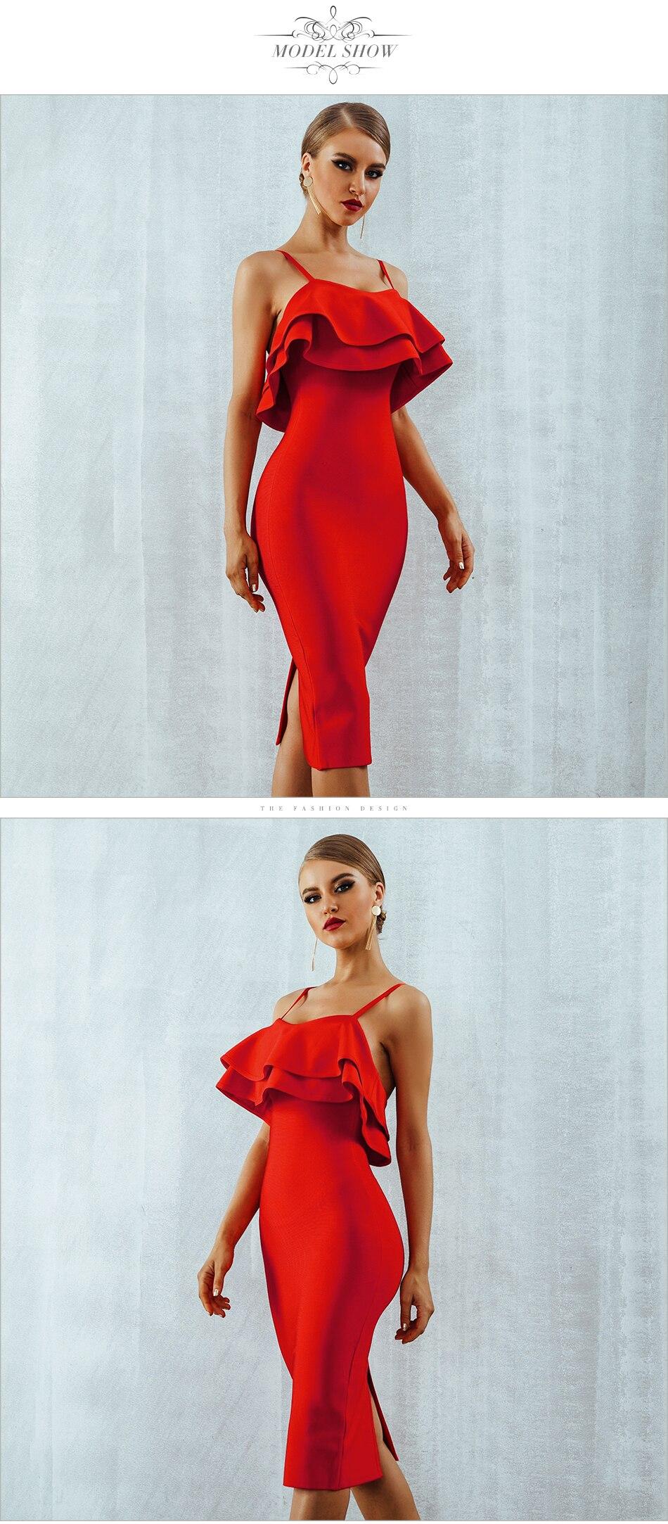 Adyce Women Bodycon Summer Red Bandage Dress 19 Spaghetti Strap Vestidos Strapless Ruffles Midi Celebrity Evening Party Dress 5