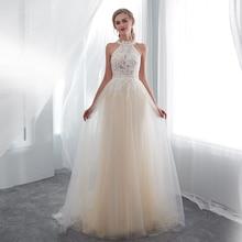 אור שמפניה שמלות נשף הלטר פניני אפליקציות מלא אורך אשליה צד פורמלי שמלות שמלות תמונה אמיתית לנשף שמלות 2019