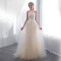 Light Champagne Prom Dresses Halter Pearls Appliques Full Length Illusion Formal Party Gowns Dresses Real Photo Prom Gowns 2019