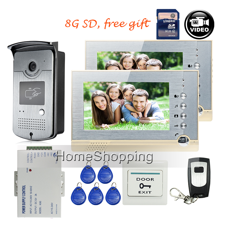 FREE SHIPPING BRAND 7 Home Color Recording Video font b Door b font phone Intercom 2