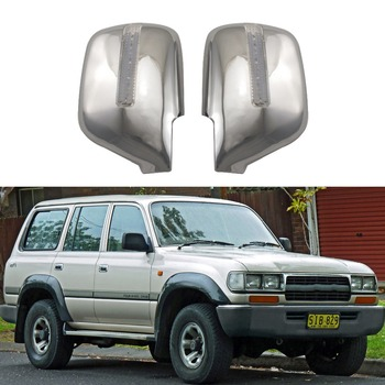 For Toyota Land Cruiser Autana 4500 FJ80 1992-2008 2PCS ABS Chrome plateddoor Rearview door mirror covers with Led