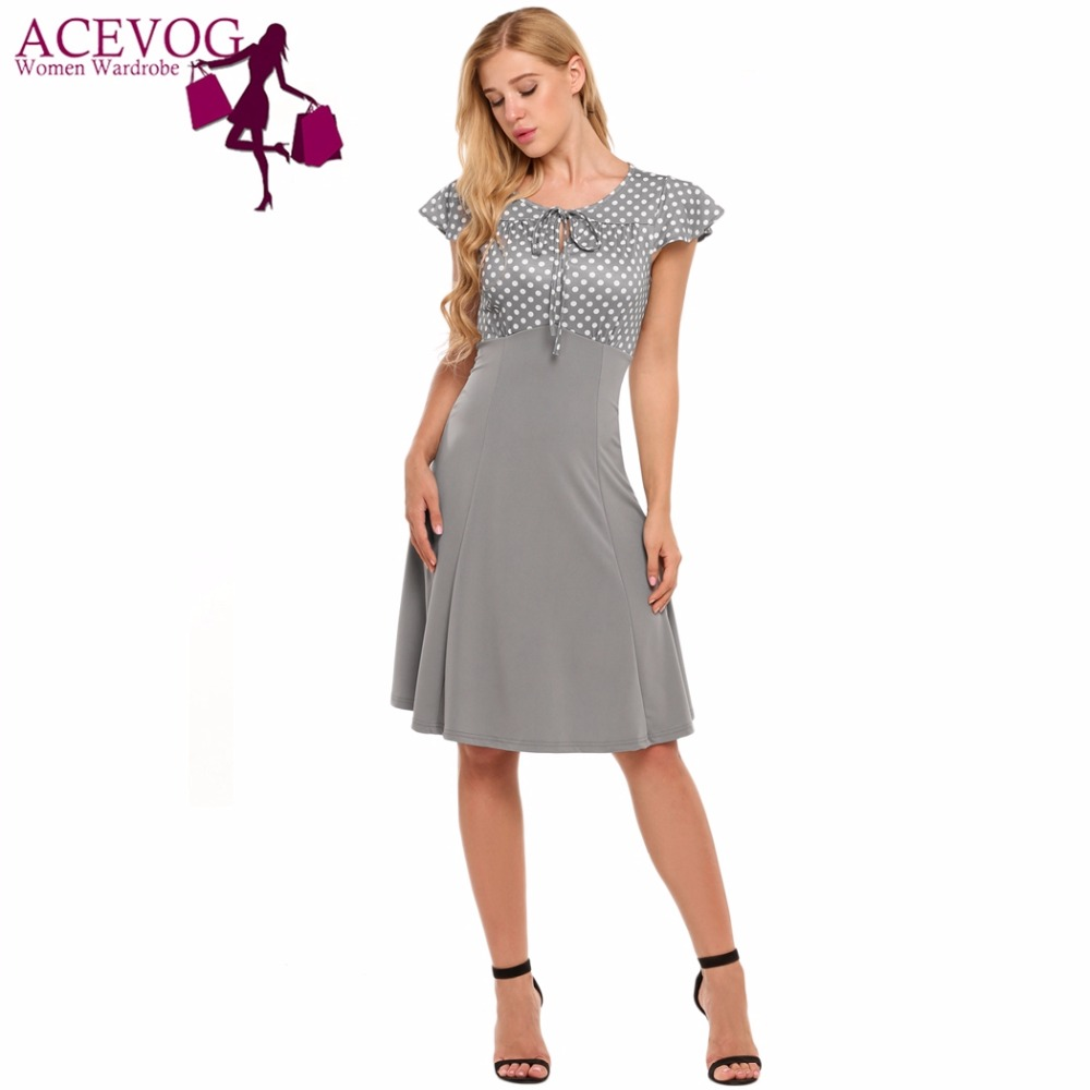 f7240f7fe459 Online Shop ACEVOG Vintage Dress Women Summer Lace-up Classic Cap Sleeve  Polka Dot A-Line Swing Dresses Party Femme Robe Vestidos Mujer
