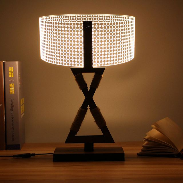 3D Cylinder Wooden Stand Lamp Night Light Bedroom Table Desk Lamp Warm  White Lighting Plug Connector