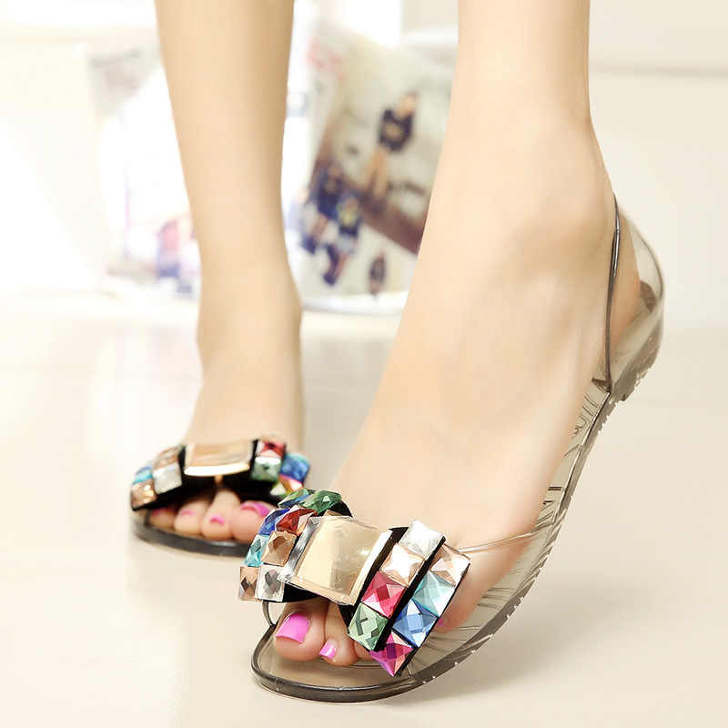 2db2b5c3a 2019 Women Shoes Summer Rhinestone Bow Women Sandals New Flat Sandals Slip- on Female Shoes