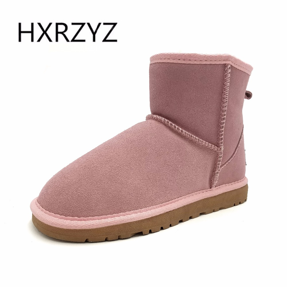 HXRZYZ winter snow boots women ankle genuine leather boots female hot new fashion large size rubber soles women warm snow shoes