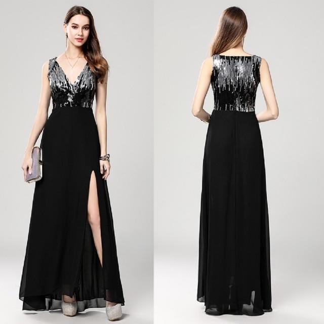 acc30abdb39 B0060 New Black sequin V-neck High Slit Chiffon Sleeveless Prom Ball Gown  Formal Women Maxi Long Dresses A-Line