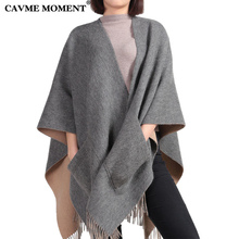 CAVME 100% Wool Poncho Scarf Pashmina Women Gray Solid Color Largue Scarves with Pocket for Ladies Shawls 175*120cm 590g