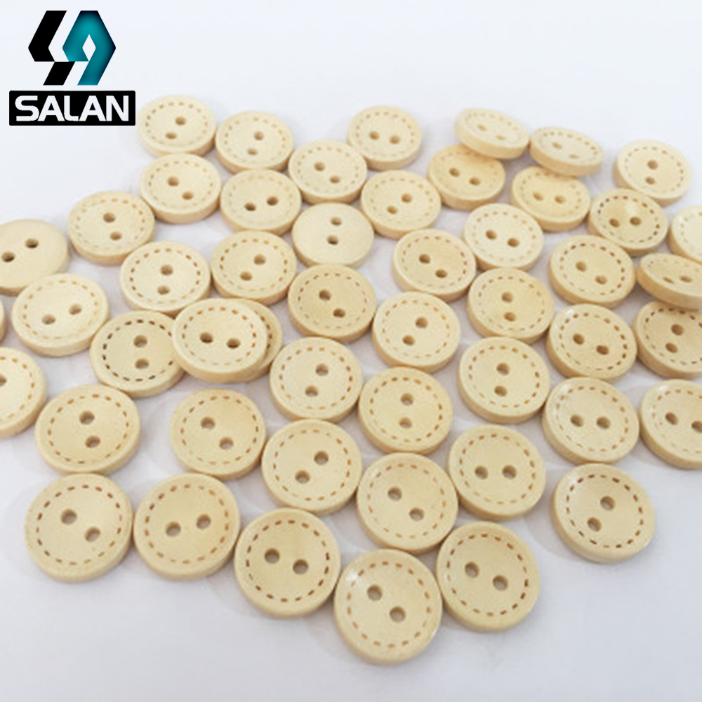 Factory direct sales of natural wood deduction wooden button round bowl deduction deduction line deduction DIY clothing accessor