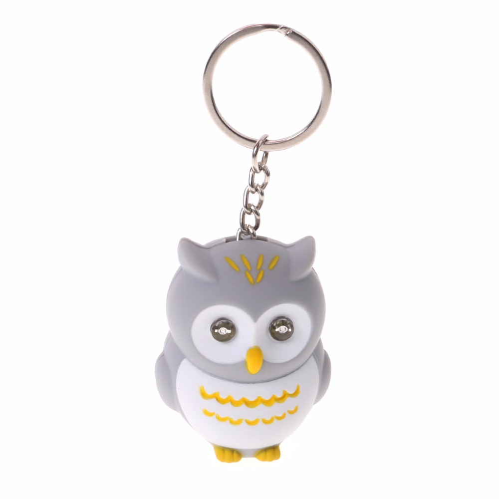 Funny LED Light 3D Cartoon Owl Keyring Sound Hooting KeyChain Design Gift Kid Toys image