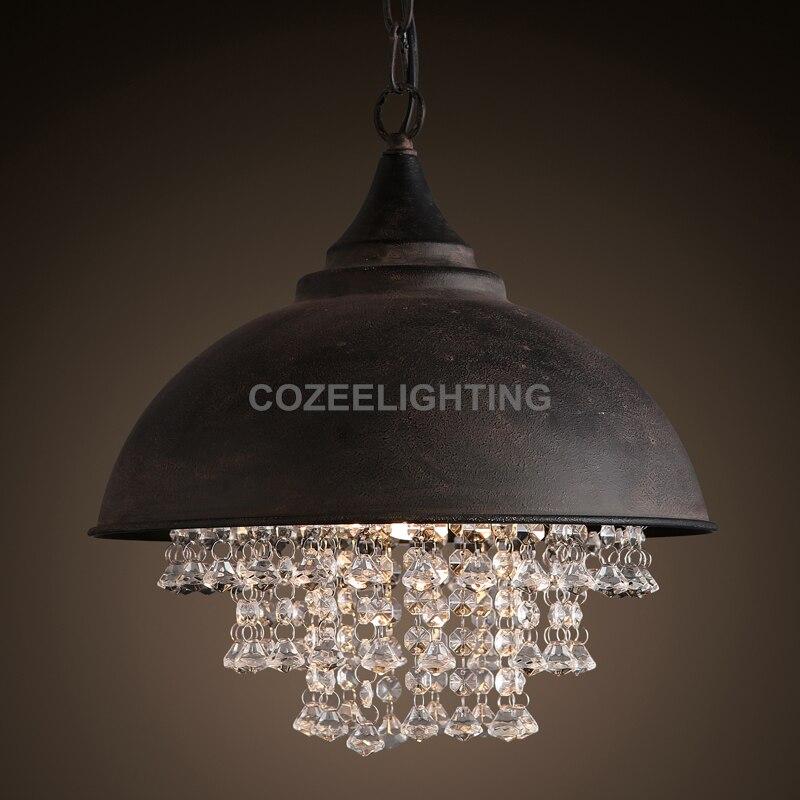 loft kristall - Vintage Loft Crystal Pendant Light Edison Bulb Hanging Lighting for Home Hotel Restaurant Living and Dining Room Decoration