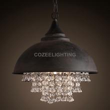 Vintage Loft Crystal Pendant Light Edison Bulb Hanging Lighting for Home Hotel Restaurant Living and Dining Room Decoration